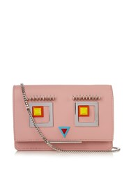 Fendi Square Eyes Leather Cross Body Bag Pink Multi