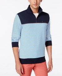 Tommy Hilfiger Men's Branson Colorblocked Striped Quarter Zip Sweater Navy Blazer Bright White