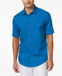 Alfani Short Sleeve Warren Textured Shirt Hyper Blue