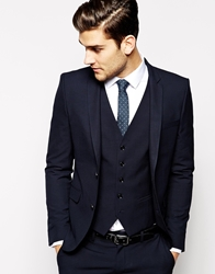 Selected Lux Tonal Check Suit Jacket In Skinny Fit Blueblack