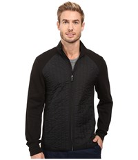Perry Ellis Quilted Mix Media Knit Jacket Black Men's Coat