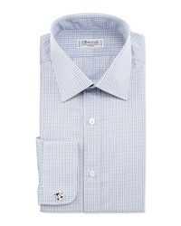 Charvet Check French Cuff Dress Shirt White Blue Brown