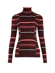 Moncler Roll Neck Striped Ribbed Knit Wool Sweater Burgundy Multi