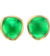 Monica Vinader Siren 18Ct Gold Plated Vermeil And Green Onyx Stud Earrings