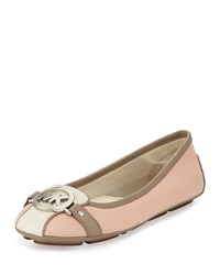 Michael Michael Kors Fulton Colorblock Leather Moccasin Ballet Ecru