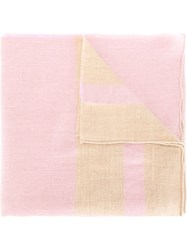 Massimo Alba Striped Scarf Pink And Purple