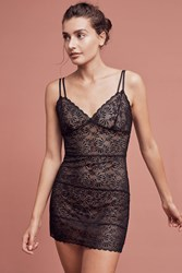 Anthropologie Josie Lily Lace Chemise Black