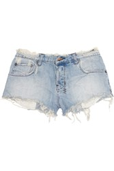 Ksubi Alberceque Distressed Denim Shorts Blue