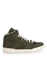 Bottega Veneta Intrecciato Leather And Suede High Top Trainers
