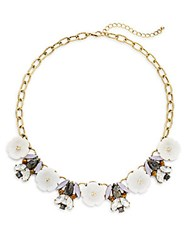 Punch Statement Tigers Eye And Shell Crystal Necklace White