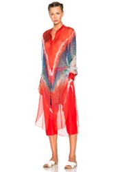 Baja East Tie Dye Print Chiffon Top In Red Abstract