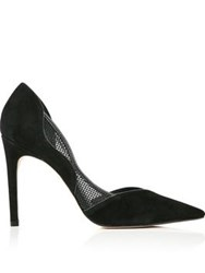 Reiss Maggie Curved Mesh Insert Court Shoe Black