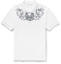 Alexander Mcqueen Slim Fit Tattoo Embroidered Cotton Piqua Polo Shirt White