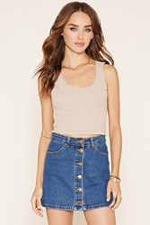 Forever 21 Raw Cut Racerback Crop Top