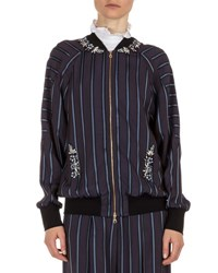 Erdem Danni Striped Bomber Jacket Plum Blue Plum Blue