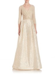 Teri Jon By Rickie Freeman Three Quarter Sleeve Jacquard Ball Gown Gold