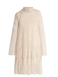 Chloe Floral Smocked Silk Crepon Blouse Nude
