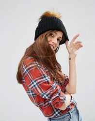 Asos Rib Beanie With Oversized Ginger Faux Fur Pom Black