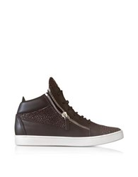 Giuseppe Zanotti Dark Brown Leather And Lizard Print High Top Men's Sneaker