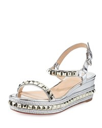 Christian Louboutin Cataclou Metallic Studded Red Sole Sandal Silver