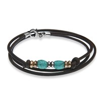Platadepalo Turquoise Leather Bracelet With Silver And Bronze Green