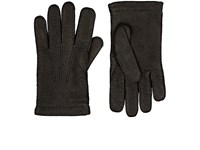 Barneys New York Men's Cashmere Lined Leather Gloves Black