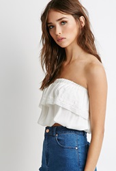 Forever 21 Crocheted Strapless Crop Top Cream