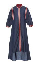 Alexis Mabille Bayadere Striped Chambray Shirt Dress Blue