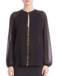 Versace Embellished Long Sleeve Blouse Black Gold