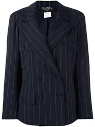 Chanel Vintage Pinstripe Double Breasted Blazer Blue