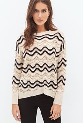 Forever 21 Contemporary Metallic Wave Striped Pointelle Sweater Ivory Black
