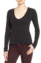 James Perse Women's Round V Neck Long Sleeve Tee Black