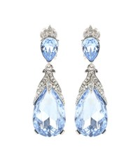 Oscar De La Renta Crystal Embellished Clip On Earrings Blue