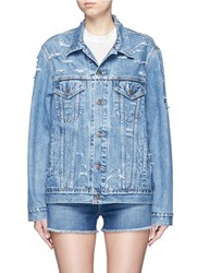 Forte Couture 'Yeah' Glitter Slogan Applique Denim Jacket Blue