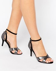 Head Over Heels By Dune Maddie Ankle Strap Silver Snake Print Heeled Sandals Silver Snake