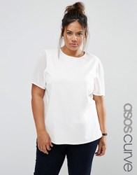 Asos Curve Top In Ponte With Chiffon Sleeve Cream