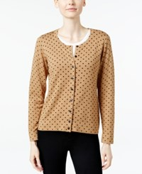 Charter Club Dot Print Cardigan Only At Macy's Salty Nut