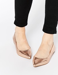 Oasis Metallic Pointed Flat Shoes Nude