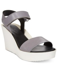 Charles By Charles David Camp Wedge Sandals Women's Shoes Flint Gray