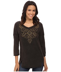 Rock And Roll Cowgirl 3 4 Sleeve Knit 47 4264 Black Women's Clothing