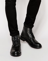 Base London Roebuck Leather Boots With Faux Shearling Lining Black