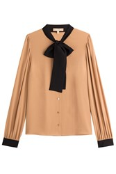 Michael Kors Collection Bow Front Silk Blouse Camel