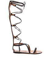 Valentino Rockstud Leather Gladiator Sandals In Black