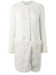 Yves Salomon Mink And Marmot Fur Hem Coat White