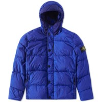 Stone Island Crinkle Reps Hooded Down Jacket Blue