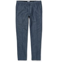 Club Monaco Connor Linen And Cotton Blend Trousers Blue