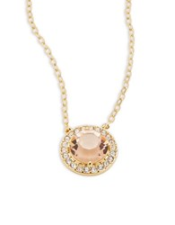 Nadri Goldtone Crystal Pave Pendant Necklace Peach