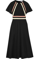 Red Valentino Redvalentino Striped Silk Crepe De Chine Midi Dress Black