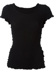 Issey Miyake Cauliflower Pleated Short Sleeve Blouse Black