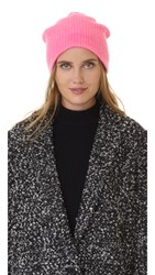 White Warren Cashmere Plush Rib Beanie Neon Azalea Heather